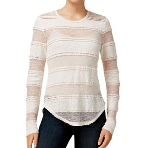Rachel Roy Striped Lace Embellished Top Size Small